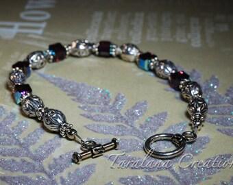 Purple Cube Swarovski Crystal Bracelet with Sterling Silver Beads