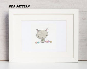 Cross stitch Easter bunny pattern, easter bunny chart, buny and easter eggs PDF