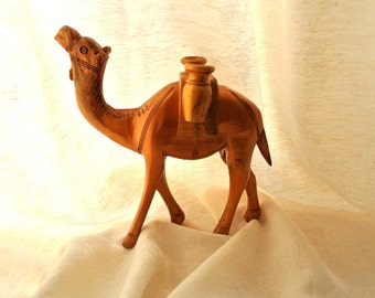 "Wooden handcrafted camel made of olive wood in Bethlehem, hand painted by me-8.5""/21cm height"