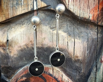 Vintage Mexican Jewelry Sterling Silver Earrings with Onyx, Dangle Earrings, Taxco Silver Jewelry, Vintage Jewelry, Vintage Earrings