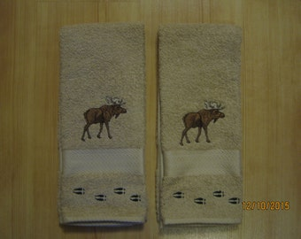 NEW 2 Moose with Tracks Tan Hand Towels, Lodge Cabin Decor, Northwoods