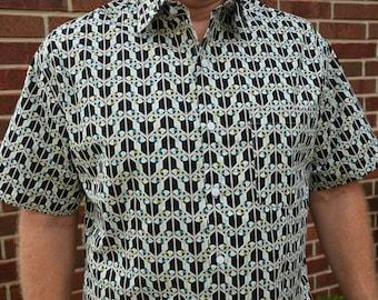 Men's Handmade Organic Cotton Short Sleeve Button Down Dress Shirt - Black and White Eyes - Pato I921I