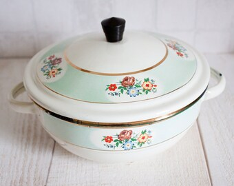Lovely Little French Enamel Tureen || Vintage White, Mint and Gold, Floral Decor Enamelware Tureen - Retro Home - Shabby Chic