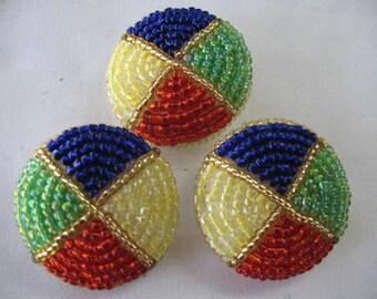 VINTAGE BEADS BUTTON multi color - 3 buttons