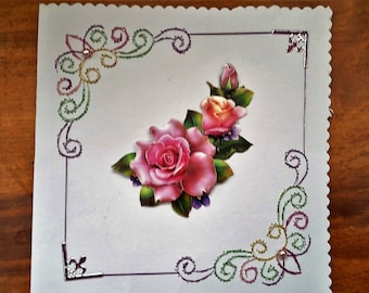 Bouquet of roses - map 3 D lined hand made
