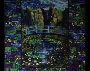 Water Garden Wall, Lap or Bed Quilt made from a Panel PDF Pattern
