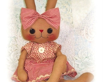 Bunny Rabbit PATTERN, PDF, Instant Download, Rag Doll, Softie, Soft Toy, Sewing, Stuffed Animal, Cloth, primitive, Digital Download