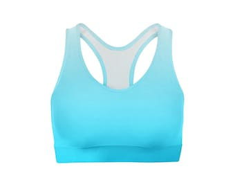 White Blue Ombre Sports Bra