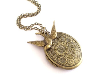 Bird Locket, Brass Floral Locket, Antiqued Brass Oval Locket Pendant, Optional Bird Charm, Flower Locket, Antiqued Brass Plated Necklace
