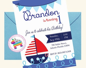Nautical Birthday Party Invitation, Printable Birthday Invitation, First Birthday Boy Invitation,