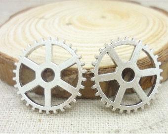 5Pcs - Steampunk Gear Charm 20mm Antique Silver Clockwork Cog Wheel Gearwheel Mechanical Watch Gear Clock Parts Decoration