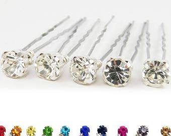 Rhinestone Hair Pins - Bridal Crystal Hair Pins, Wedding Hair Pins, Bridal Hair Accessories - 7mm/5 qty - FLAT RATE SHIPPING