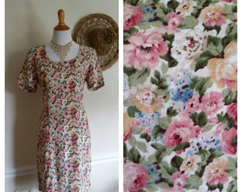 Pastel floral dress, M, 80's dress, rayon dress, summer dress, spring dress, pastel dress, pink floral dress, calico dress