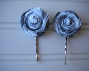 Pair of Gray and White Rolled Rosette Bobby Pins