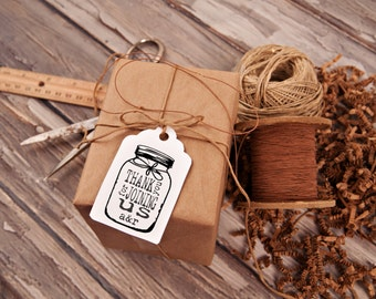 Mason Jar Thank you rubber stamp for DIY personalized wedding favors, Custom Wedding Favors, Personalized Wedding, 2 x 3 --13048-CB18-000