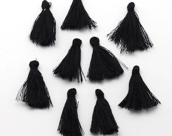 "3PCS Mini 1"" Black Cotton Wrapped Cap Tassel"