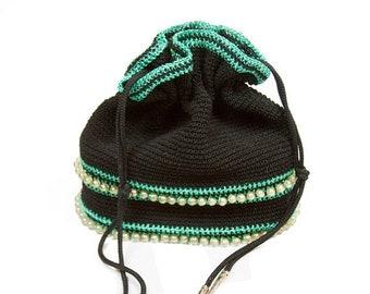ON SALE 1950s Purse ~ Black Crochet and Turquoise Lurex Beaded Drawstring Bucket Bag