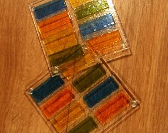 3D a soulevé Rectangle verre Coasters - multicolore