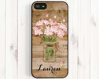 Flower Bouquet iPhone Case, Personalized Monogram Printed Image Wood Pattern iPhone 7 5 5C, iPhone 4S, Samsung Galaxy S3 S4 S5 Note 3, ul12