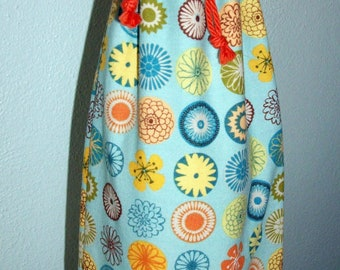 Flower Buttons Wine Bottle Bag - Reversible - Drawstring - Reusable
