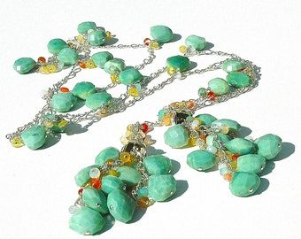 Peruvian Green Opal Teardrop Wrap / Mexican Fire Necklace / Sterling Silver / Lariat / Gifts For Her / Green / Multicolor / OOAK