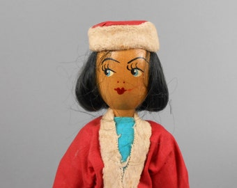 Vintage Polish Wooden Peg Doll in Red and White Outfit