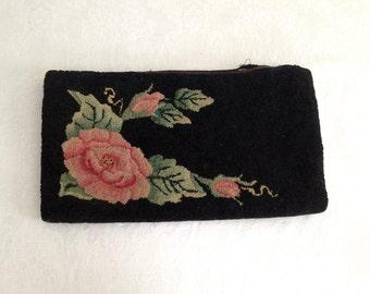 Antique needlepoint clutch
