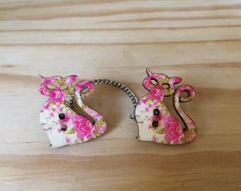 Sweater Pins, Cat Pins, Pink Cat Pins, Cat Sweater Pins, Floral Cats, Floral Print Cat, Cat Collar Pins