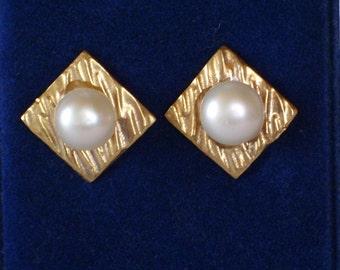 Freshwater pearl earrings - vermeil - bridal earrings - wedding earrings