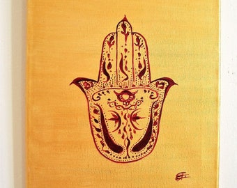 """""""Fatma hand"""" painting, painting on canvas 24 x 30 cm."""