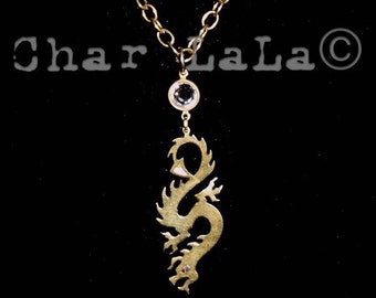 Brass Dragon long pendant necklaces with mother of pearl eyes and crystal connectors