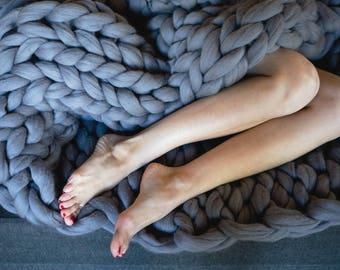 Chunky knit blanket, chunky knit throw blanket, 100% merino wool