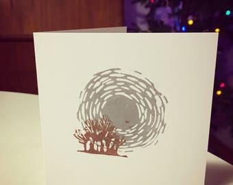 Midwinter lino print card