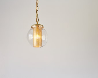 Globe Pendant Light, Modern Hanging Pendant Lamp, Clear Glass Globe Shade, Gold Chain and Shade Insert, Brass Holders, Bulb Included