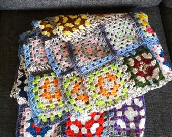 Baby Blanket Crochet Swedish Granny Square lap. Vintage never used . Soft Lovely Handmade Perfect Cold Evenings or for the Baby