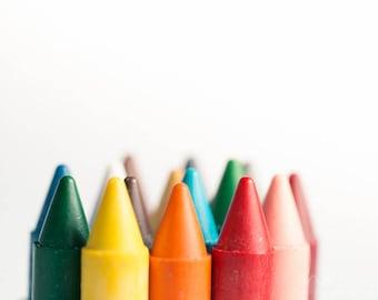 crayon playroom art,  crayon photograph, crayon tips print, rainbow colors, kids playroom decor, nursery crayon art, colorful nursery art