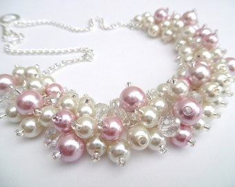 Ivory and Pink Pearl Necklace, Bridesmaid Jewelry, Cluster Necklace, Chunky Necklace, Bridesmaid Gift, Pearl Wedding Jewelry, Pink Wedding