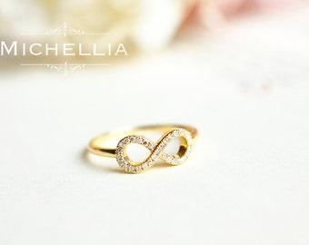 LAST TWO - Ready to Ship - Infinity Diamond Ring - 14K White Gold and Size 5, 18K White Gold and Size 9