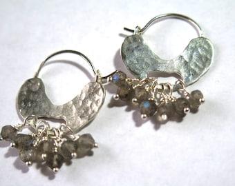 Labradorite Bead Earrings,Silver Chandelier Earrings,Labradorite Gemstone Earrings,Labradorite Chandelier Hoops,Beaded Hoop Earrings,Hoops