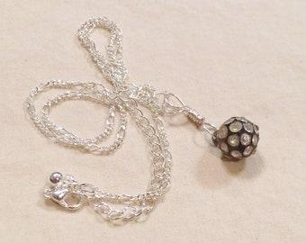 Vintage Button Necklace Silver Hand-Wired Vintage Rhinestone Button