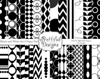 Black and White Digital Paper Pack Commercial Use