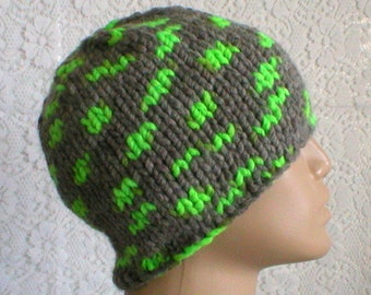 Gray neon green hat, winter hat, beanie hat, skull cap, knit hat, toque, gray hat, mens womens hat, chemo cap, gray knitted hat ski hiking