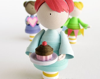 CUSTOM quilled paper art doll, home decor, cute nursery gift, paper quilling miniature, gift for her, personalized gift, cake topper