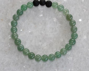 Green Aventurine Diffuser Bracelet / Healing Crystals  / Crystal Jewelry / Stacked Stacking Bracelets / Free US Shipping
