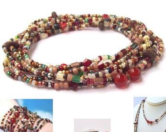 SALE Carnelian Wrap Necklace, red beaded wrap, wrap bracelet, southwest, gemstone, long, beaded necklace, boho, bohemian jewelry seed beads