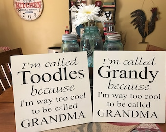 """Grandma Sign/ Personalize Grandparents/Name/ Hand Painted Sign/ Gift/ Home Decor/12""""c13""""/ Simplegalz"""