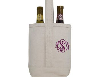 Wine Tote Bag - Canvas -   Monogram or  Personalized - embroidered monogram
