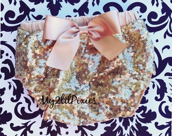 Gold Sparkle Sequins Baby Bloomer , Gold satin Bow, gold diaper cover, full sequins bloomer, Birthday bloomer, Pagant Diaper cover