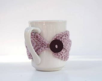 Coffee cup cozy light pink brown button tea cup cozy mug cozy Christmas gift for her stocking stuffer holidays gift under 15 friends gift