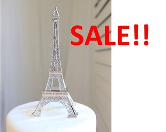 "6"" Silver Paris Eiffel Tower Cake Topper, Madeline, France, Centerpiece, Parisina Decoration, overthetopcaketopper, SALE, Discount, Must Go"
